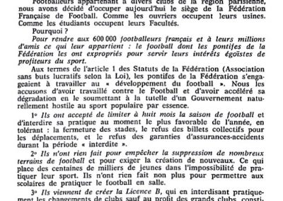"""Flyer """"Football for footballers"""" distributed by protesting footballers on the day of the occupation of the FFF headquarters, May 22, 1968"""