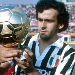 Michel Platini of Juventus with his Ballon d'Or trophy, 1984