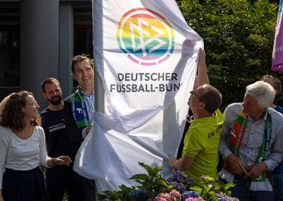 The rainbow flag waving at the German Football Association headquarters. July 18, 2019.