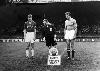 Soviet Union & Yugoslav captains Neto and Kostic before start of 1960 European Nations Final