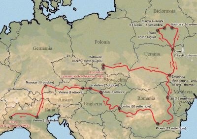 "Map of the path taken by Primo Levi home from ""The Truce"" (1963)"