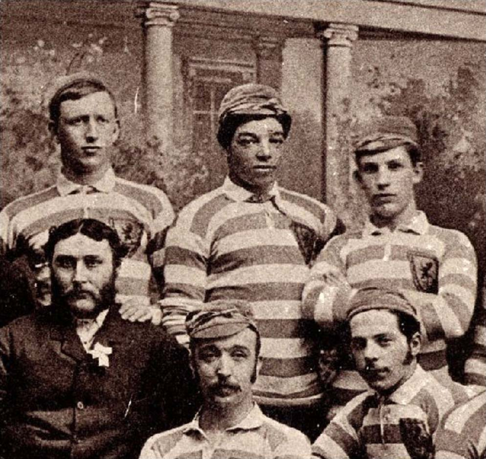 Andrew Watson (top centre) with the Scottish team that played England at Hampden Park on the 11 March 1882 (The Glasgow Story)