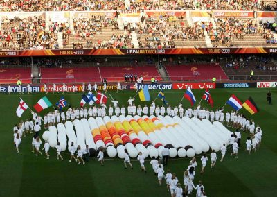 Ceremony before the UEFA Women's Euro 2009 final (Germany vs. England) at the Helsinki Olympic Stadium in Helsinki, Finland
