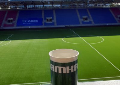 History teacher Geir Ove Halvorsen has a view on the pitch during his coffee break. The stadium is next to the school (Photo: Geir Ove Halvorsen)