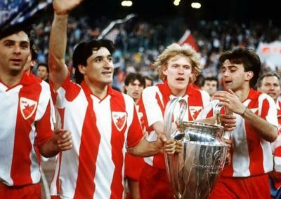 Darko Pančev Second from the left celebrates the victory when winning the Champions league in 1991