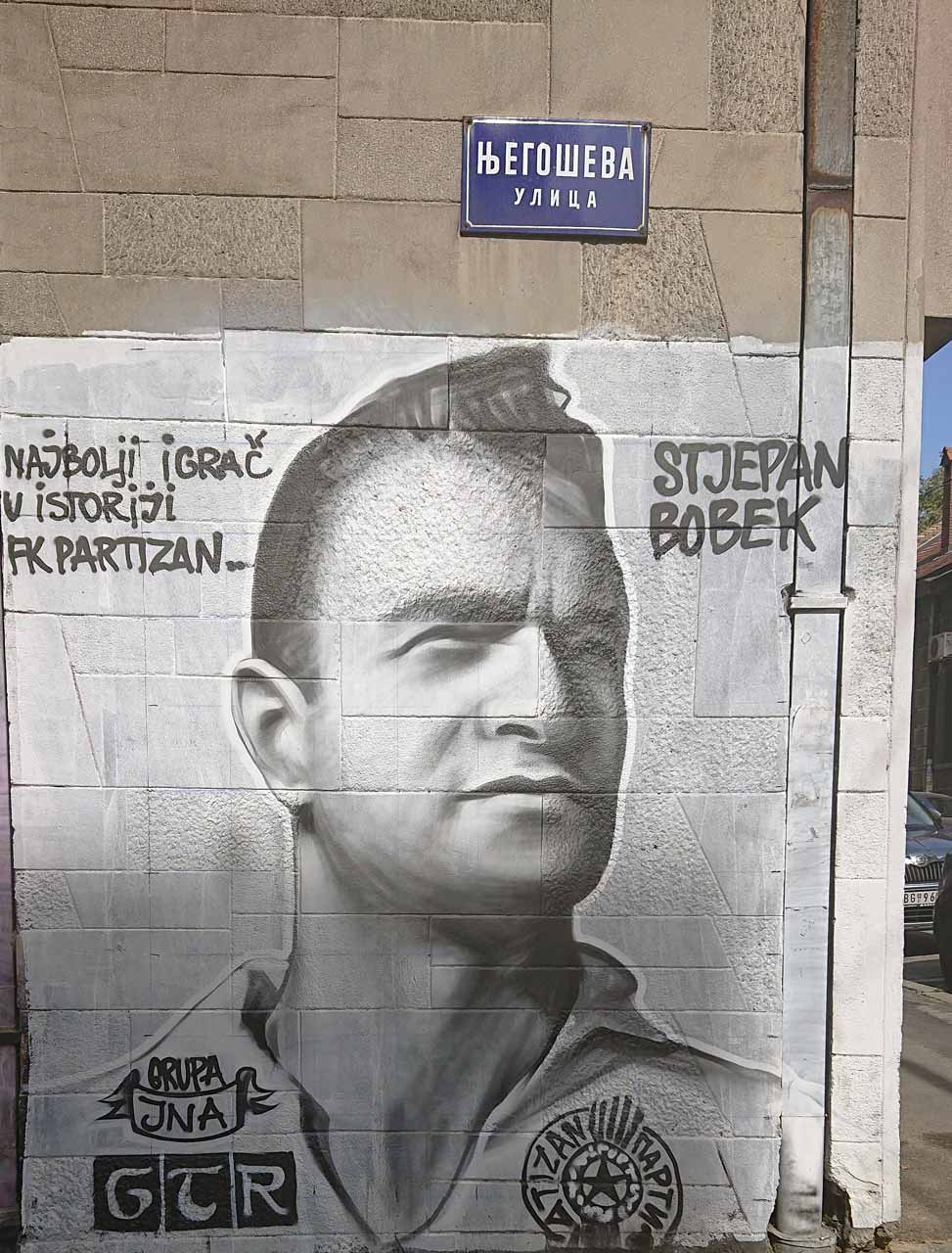 Graffiti of Stjepan Bobek in the Njegoševa street in Belgrade, 3 October 2018 (Photo: Seeott)