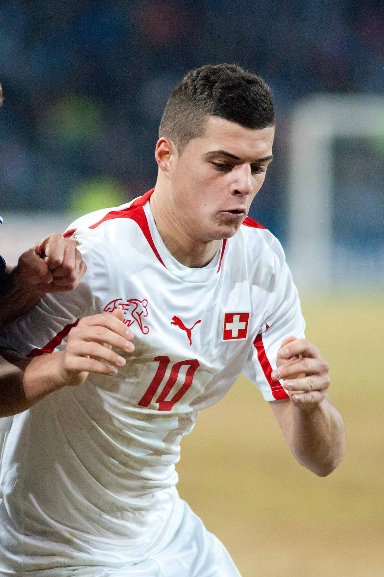 Granit Xhaka in Switzerland vs. Argentina, 29th February 2012 (Photo: Fanny Schertzer / cropped version)