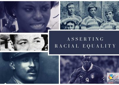 Asserting Racial Equality (FMH Photo collage). Credits: Eniola Aluko (Photo: Wikimedia Commons); Andrew Watson (Photo: The Glasgow Story); Raoul Diagne (Photo: Le Miroir des sports); Portrait of Walter Tull; Mario Balotelli (Photo: Илья Хохлов / Wikimedia Commons).