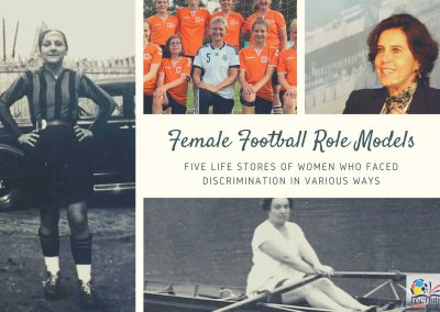 Female Football Role Models (FMH Photo collage). Credits: Brunilde Amodeo (Photo: Francesco Bacigalupo); Petra Landers (Photo: Heinz Reinders / Wikimedia Commons); Ebru Köksal; Alice Milliat (Photo: Wikimedia Commons).
