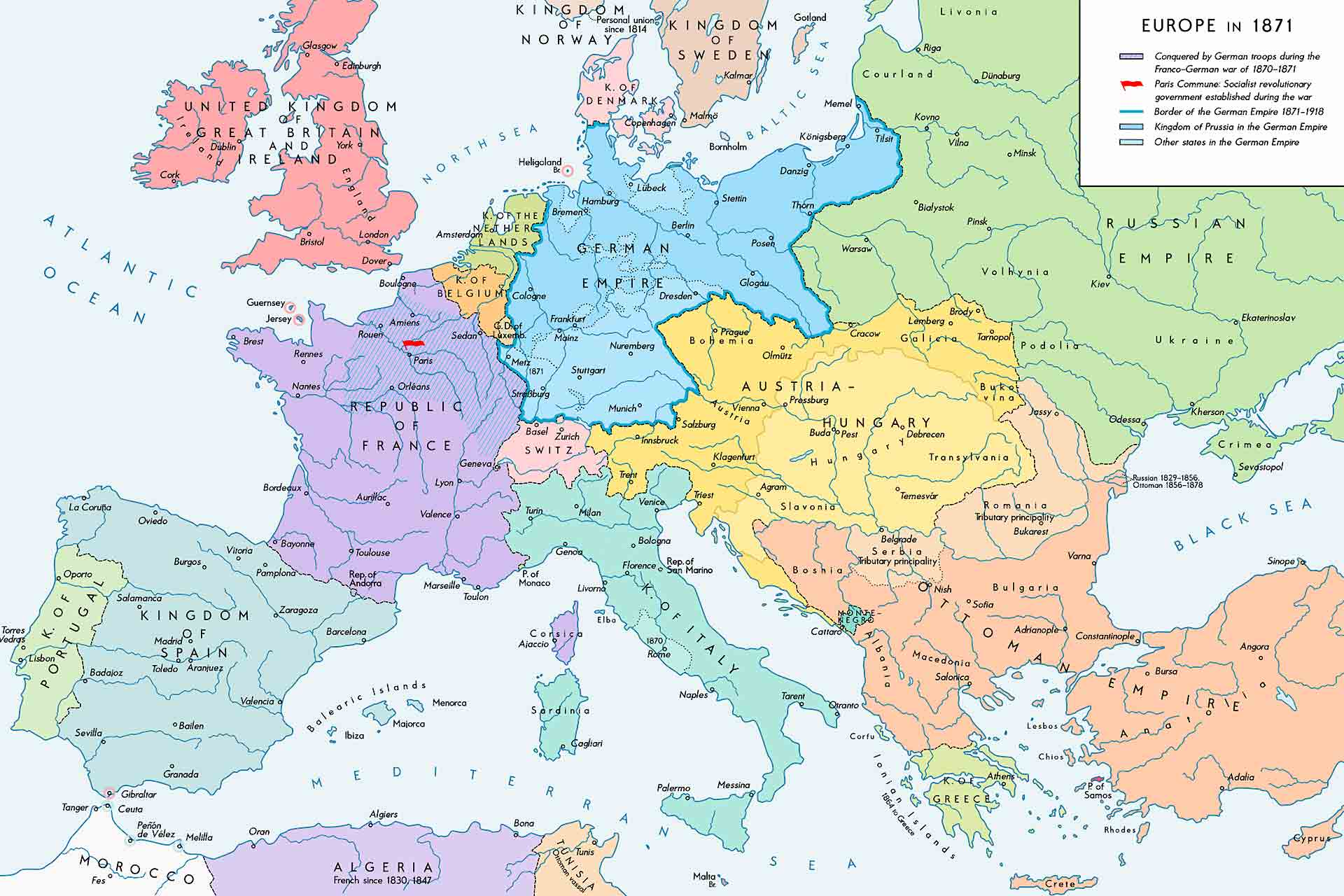 A map of Europe in 1871.