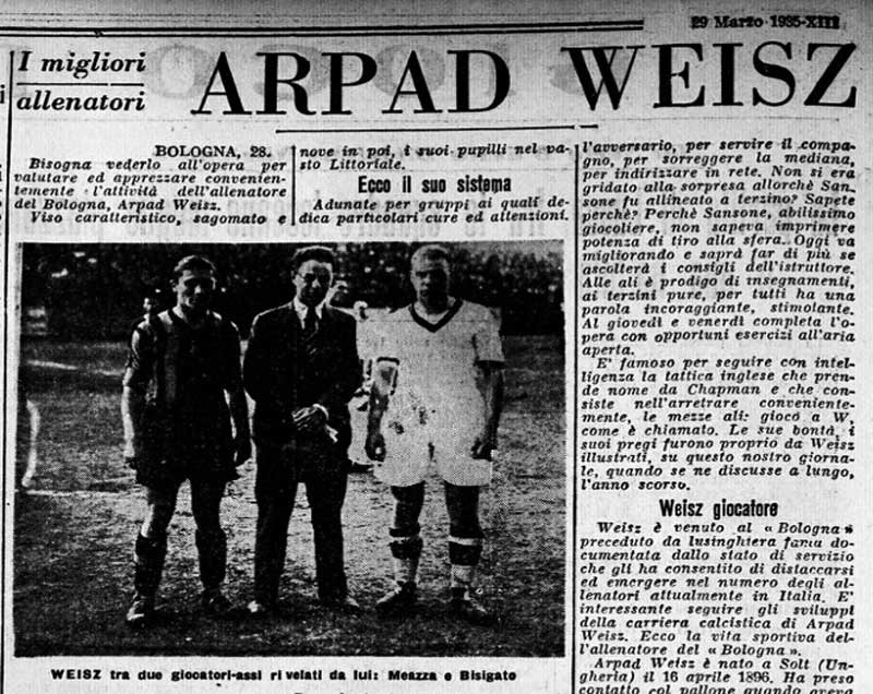 1935 Italian Newspapers' article on Árpád Weisz.