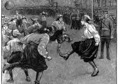 """Illustration of the """"First Match of the British Ladies' Football Club"""" (H.M. Paget), March 1895 (Source: The Graphic, 1895-03-30, p. 3)."""